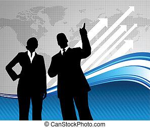 equipo negocio, plano de fondo, con, mapa del mundo