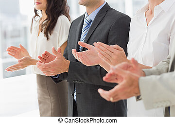 equipo negocio, posición, consecutivo, aplaudiendo