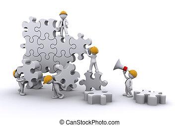 equipo negocio, trabajo, edificio, un, puzzle., empresa /...
