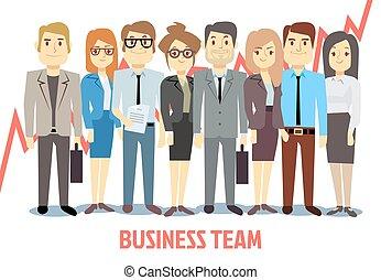 equipo negocio, vector, concepto, con, hombre y mujer, posición, juntos., trabajo en equipo, caricatura