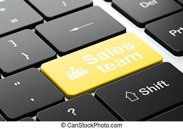equipo negocio, ventas, computadora, publicidad, plano de fondo, teclado, concept: