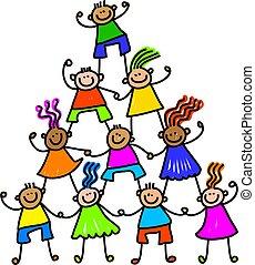 equipo, niños, feliz