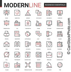 equipo, oficina, empresa / negocio, vector, delgado, icono, ...