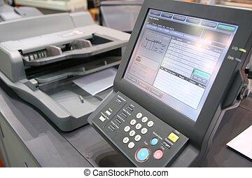 equipo, pantalla, impreso