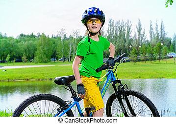 equipo, para, bicicleta