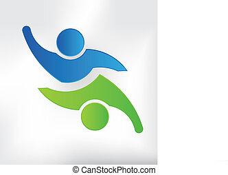 equipo, pareja, logotipo