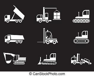 equipo pesado, vector, -, iconos