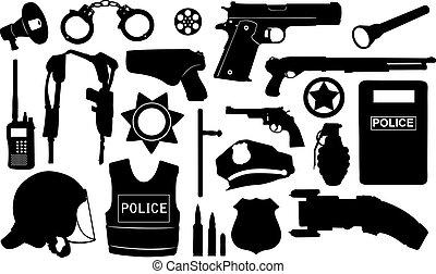 equipo, policía