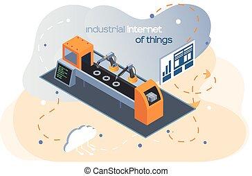 equipo, production., autónomo, robótico, maquinaria, industrial, internet, brazo, things., moderno