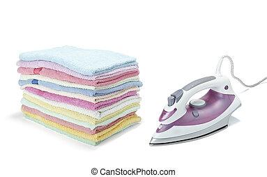 equipo, quehacer doméstico, ropa, planchado