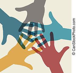 equipo, símbolo., multicolor, manos