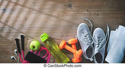equipo salud, alimento sano, zapatillas, cantimplora, y, toalla