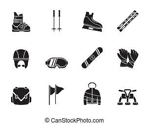 equipo, snowboard, esquí, iconos