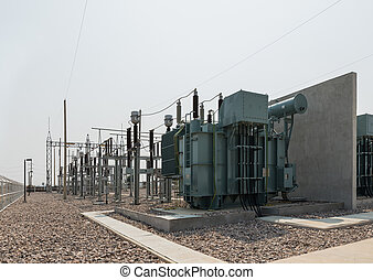 equipo, subestación, voltaje, yarda, al aire libre, alto, eléctrico