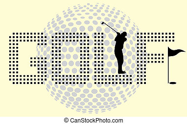 equipo, vector, arte, golf, deportes