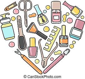 equipo, vector, manicura, forma., garabato, corazón, padicure, ilustración