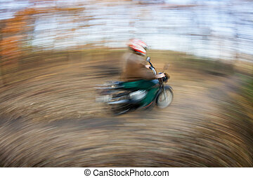 equitação bicicleta, em, um, parque cidade, ligado, um, encantador, autumn/fall, dia