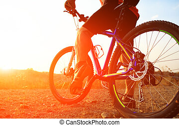 equitación, bicicleta montaña, ángulo, bajo, vista, ciclista