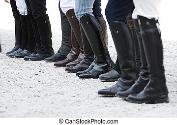 equitación, botas
