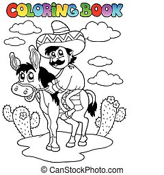 equitación, burro, libro colorear, hombre