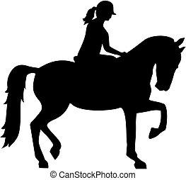 equitación, caballo, mujer, silueta