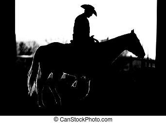 equitación, caballo, silueta, vaquero