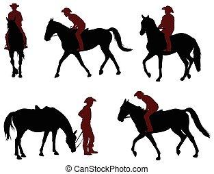 equitación, caballo, siluetas, vaquero