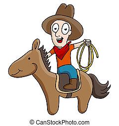equitación, caballo, vaquero