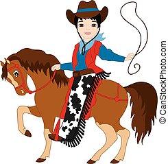 equitación, caballo, vector, joven, vaquero