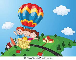 equitación, caliente, feliz, caricatura, niños, aire