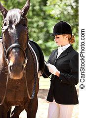 equitación, niña, a caballo