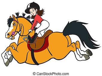 equitación, niña, caballo, caricatura
