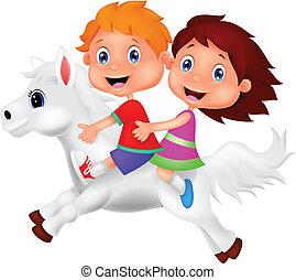 equitación, niña, poney, niño, caricatura