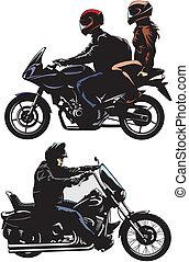 equitación, pareja, bicicleta, hombre