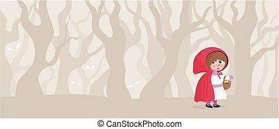 equitación, poco, rojo, capucha