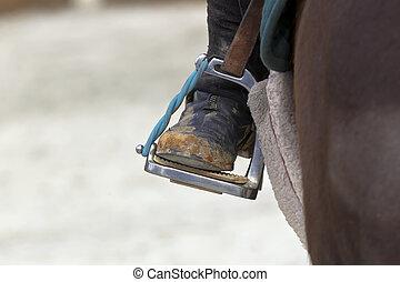 equitación, primer plano, estribo
