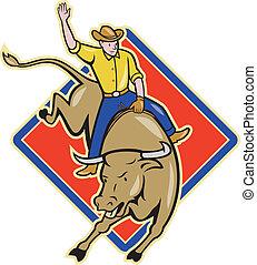 equitación, rodeo, vaquero, caricatura, toro