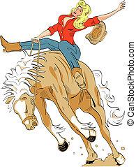 equitación, señal, bronco, vaquera, sexy