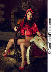 equitación, seductor, rojo, capucha