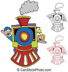 equitación, tren, niños