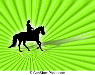 Equitation - Black horse silhouette as symbol of equestrian...