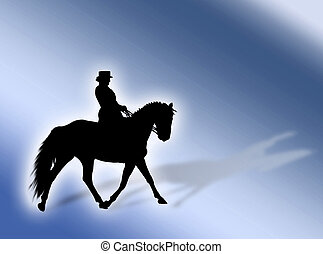 Equitation - Black horse silhouette as symbol of equitation