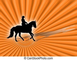 Equitation - Horse and woman silhouette riding on the orange...