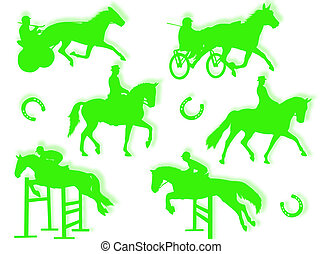 Equitation silhouette in different poses and attitudes