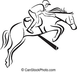 Equitation sport silhouette icon vector