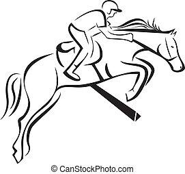 Equitation sport logo - Equitation sport silhouette icon...