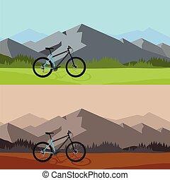 equitazione bicicletta, in, selvatico, montagna, paesaggio natura, fondo.