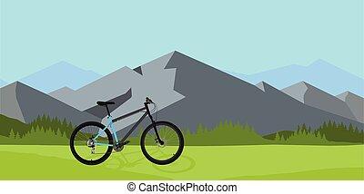 equitazione bicicletta, in, selvatico, montagna