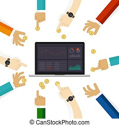 Equity funds mutual fund that invests principally in stocks. People holding money coin and stocks monitor screen