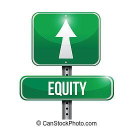 equity road sign illustration design over white